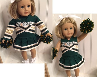 Design Your Own or Pick Your Team Embroidered American Girl Doll Cheerleading Outfits