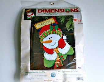 Dimensions Snowman Sparkle Kit Christmas Stocking Needlepoint Kit  #9134    16 Inches Long