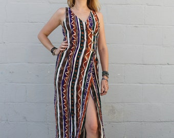 Vintage 1990's Express Tribal Crossover Maxi Dress