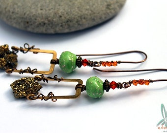 Miners daughter parties all night long - long, unique statement earrings with druzy, lampwork glass, vintage brass and Swarovsky crystal