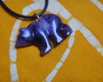 Carved Amethyst Stone Bear Fetish Pendant Necklace