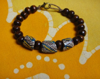 Tribal Pattern African Glass Prayer Bead Bracelet Krobo Trade Recycled Ghana
