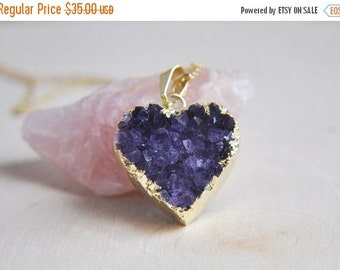SALE Amethyst Necklace, Druzy Necklace, Druzy Amethyst, Druzy Heart Necklace, Heart Necklace, Heart Pendant, Heart Jewelry, Stone Jewelry, b