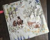 Baby Lovey Blanket, Woodland Blanket,  Security Blanket, Small Minky Blanket, Travel Blanket