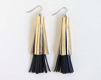 Layered Leather Tassel Earrings, Statement Earrings, Fringe Earrings in Metallic Gold & Black