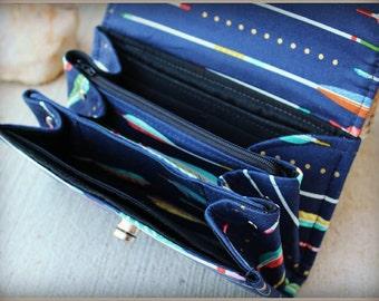 Leather Accordion Wallet - Arrown wallet - Clutch - accordion Wallet - Wallet - Boutique