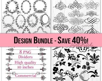 Clipart bundle Clipart Sale 40% OFF Digital frame clipart Border clipart Swirl clipart digital border Sale clipart sale items