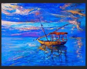 Original Oil Painting on Canvas- Blue sea and Boat-24x32 Original landscape-impressionistic oil painting by Ivailo Nikolov