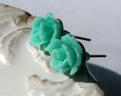 SALE Mint Rose Post Earrings