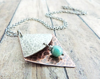 Mixed Metal Artisan Necklace - Unique Layered Pendant - Hammered Copper and Sterling Silver