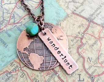 Wanderlust Necklace - Etched Travel Globe Necklace - Stamped Wanderlust Jewelry - Travel Jewelry - Adventure - Gift for Wanderers