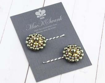 Vintage Hair Pins - Green Pearl and Crystal Bobby Pins - Vintage Wedding Hair Pins - Bridal Hair Pins - Gift for Her - Gift Under 30