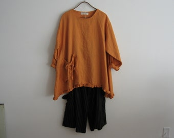 linen top blouse in mango gold ready to ship