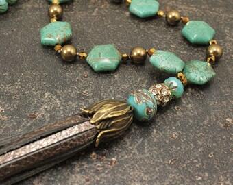 Bronze Leather Tassel Necklace One of a Kind Bohemian Jewelry Bronze Gold Semi Precious Turquoise Necklace Pearl and Leather Necklace