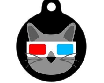 Pet ID Tag - 3D Glasses Movie Kitty Cat - Pet Tag, Cat Tag