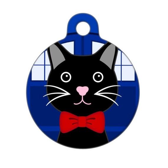Pet ID Tag - Bowties are Cool Cat - Pet Tag, Cat Tag