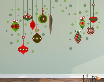 Christmas Decorations Wall Decal - reusable wall decals - vintage style ornaments