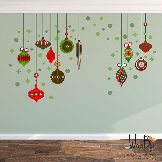 Christmas decorations wall decal reusable wall decals - Christmas wall decorations ...