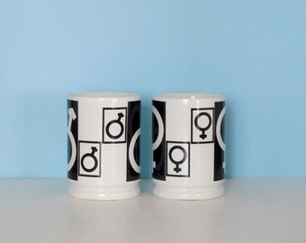 Pair of Vintage Coffee Mugs Decorated with Male/Female Symbols