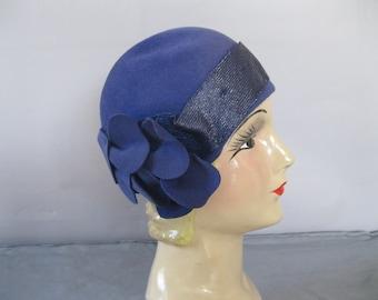 Jazz Age Hat - 20s Cloche Hat - Blue Sequin 1920s Hat -Felt Floral Flapper Hat