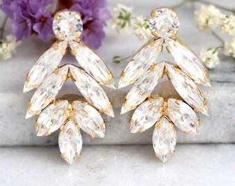 Bridal earrings, Bridal Cluster earrings,Bridal White Crystal Studs, Swarovski Bridal earrings, White Crystal Vintage Earrings, Gift for her