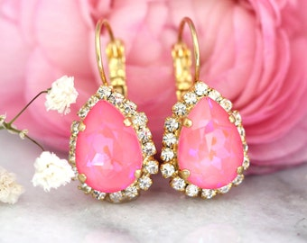 Pink Earrings, Neon Crystal Earrings,Pink Drop Swarovski Earrings, Hot Pink Bridesmaids Earrings,Pink Bridal Earrings,Gift for Woman