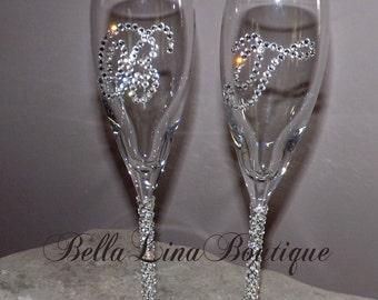 Gorgeous Wedgewood Crystal Wedding Flutes with Swarovski Crystal