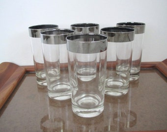 Mid century glasses/ silver rimmed/bar ware/ tall glasses/glam