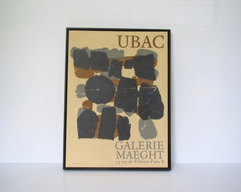Vintage Abstract poster/Raoul Ubac exhibition/ Galerie Maeght, Paris 1966 * Gallery Quality  / Offset lithograph/