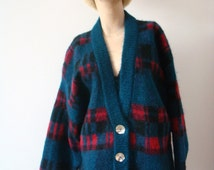 1980s Mohair Sweater - vintage wool cardigan - oversized fuzzy knit plaid jumper