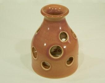 Fish House, Rose Moonshine, Ceramic Abode, Shino Glaze, Handmade, Aquatic Domicile, Aqua Shelter, Aquarium Ornament, MJS, 220