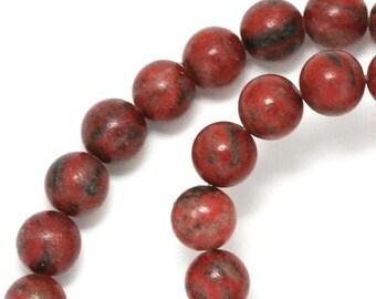 MOVING SALE Red Sesame Jasper Beads - 8mm Round - Full Strand