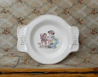Vintage Child's Plate Bowl w Handles Spoon Fork Rest 1940s Nursery Decor