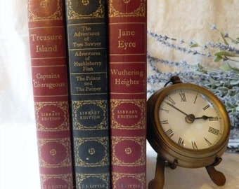DISCOUNTED Vintage Book set Jane Eyre Wuthering Heights 1946~J.J. Little & Ives~Treasure Island~Captains Courageous~