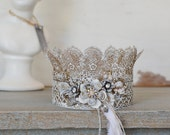 Gold Floral Crown. Lace Crown, Jeweled Crown, Crown, Floral Crown, Vintage Inspired Crown,