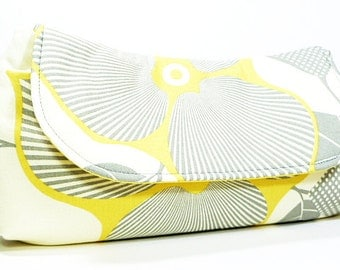 Clutch Bag Purse - Yellow Gray Optic Blossom Flower Fold Over Clutch, Bridesmaid Clutch