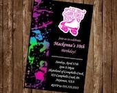 ROLLERSKATING PARTY Invitation Card, free customization, printable Hi-Res Design