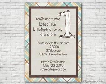 Rough and Tumble 1st Birthday Invitation - Printable or Printed (w/ FREE Envelopes)