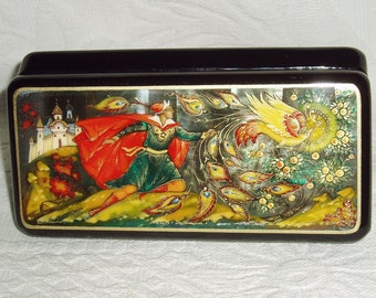 Russian Lacquer box Mother of pearl Palekh Firebird Phoenix Hand Painted