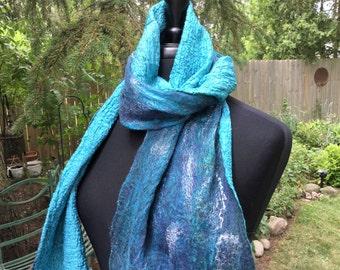 Turquoise Nuno Felted Scarf Wrap, Boho Gypsy Lagenlook Wearable Fiber Art