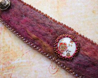 Felt Bead Embroidery Gypsy Boho Wearable Art Floral Bracelet