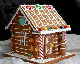 Faux Gingerbread Little Log Cabin