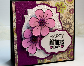 "Mother's Day Card- Handmade Card Greeting Card 5.25 x 5.25"" Stampin Up Happy Mother's Day Flowers Purple Pink Stationery 3D Card - OOAK"