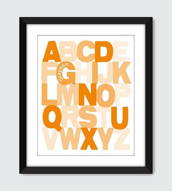 Opaque Alphabet ABC Wall Art - 8x10 Baby Children Nursery Wall Print Poster