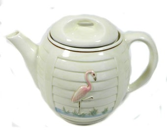 Vintage Porcelier Drip Coffeepot Flamingo and Shutter