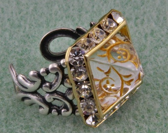 Handmade Czech Glass Brass and Silver Pyramid Ring Adjustable