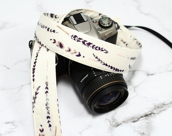 dSLR Camera Strap - Grey and White Feathers - Grey Camera Strap dSLR - Grey Watercolor Feathers - Feather Camera Strap