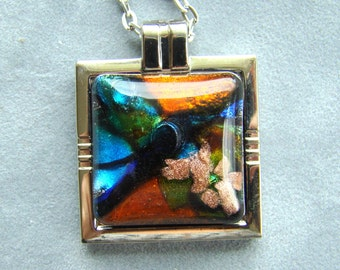Fused glass square pendant, One-of-a-kind pendant