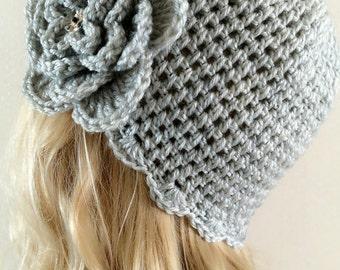 Crochet ceremonial hat with Crochet Flower----in Light  Grey 002-1