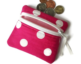 Pink and white spot coin purse, change purse, zipped card pouch